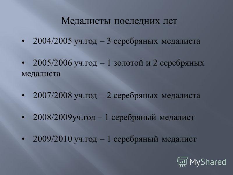 2004/2005 уч.год – 3 серебряных медалиста 2005/2006 уч.год – 1 золотой и 2 серебряных медалиста 2007/2008 уч.год – 2 серебряных медалиста 2008/2009уч.год – 1 серебряный медалист 2009/2010 уч.год – 1 серебряный медалист Медалисты последних лет