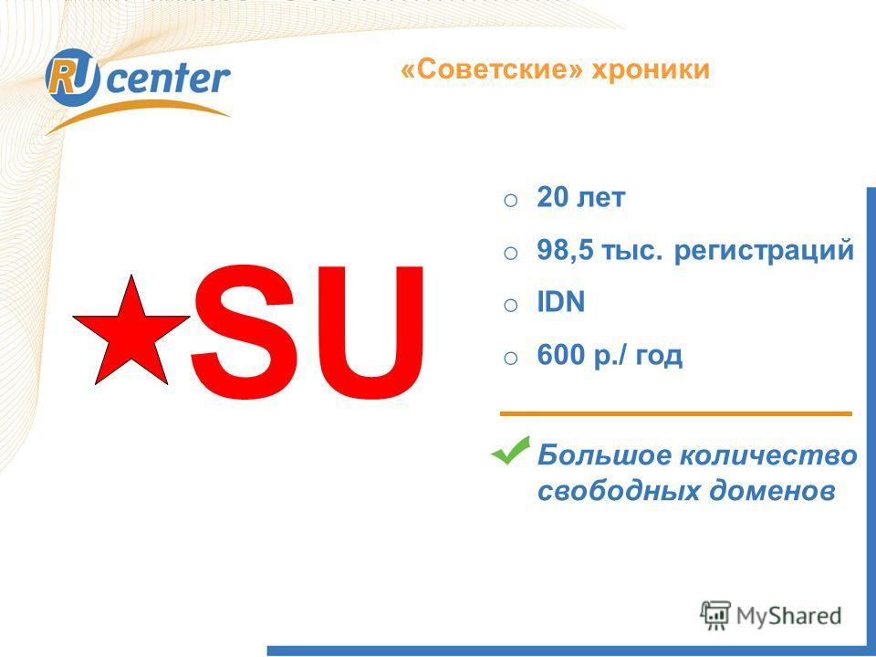 Как работает домен TEL? «Советские» хроники SU o 20 лет o 98,5 тыс. регистраций o IDN o 600 р./ год Большое количество свободных доменов
