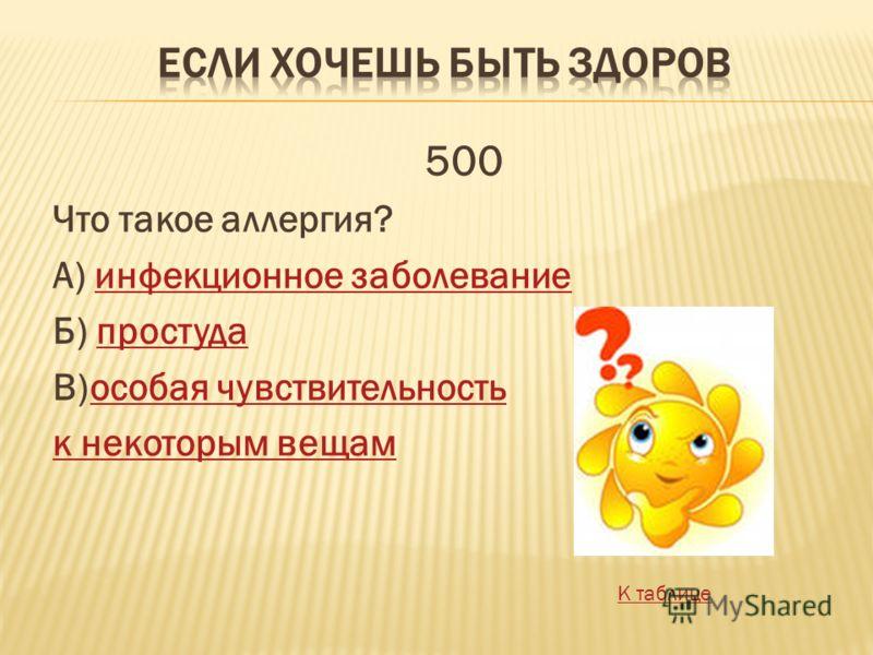 Что такое аллергия? А) инфекционное заболеваниеинфекционное заболевание Б) простудапростуда В)особая чувствительностьособая чувствительность к некоторым вещам 500 К таблице