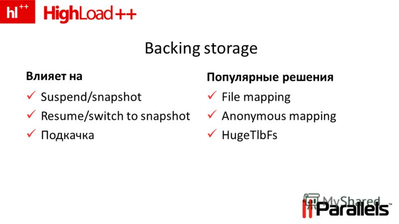 Backing storage Влияет на Suspend/snapshot Resume/switch to snapshot Подкачка Популярные решения File mapping Anonymous mapping HugeTlbFs