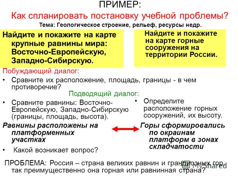 ПРИМЕР: Как спланировать постановку учебной проблемы? Тема: Геологическое строение, рельеф, ресурсы недр. Найдите и покажите на карте крупные равнины мира: Восточно-Европейскую, Западно-Сибирскую. Найдите и покажите на карте горные сооружения на терр