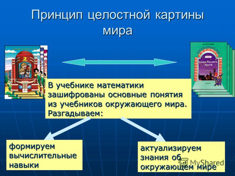7 Принцип целостной картины мира В учебнике математики зашифрованы основные понятия из учебников окружающего мира. Разгадываем: формируемвычислительныенавыки актуализируем знания об окружающем мире