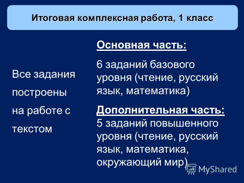 Основная часть: 6 заданий базового уровня (чтение, русский язык, математика) Дополнительная часть: 5 заданий повышенного уровня (чтение, русский язык, математика, окружающий мир) Все задания построены на работе с текстом Итоговая комплексная работа,