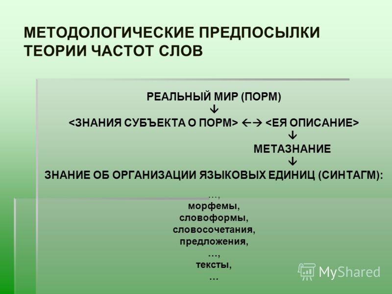 МЕТОДОЛОГИЧЕСКИЕ ПРЕДПОСЫЛКИ ТЕОРИИ ЧАСТОТ СЛОВ РЕАЛЬНЫЙ МИР (ПОРМ) МЕТАЗНАНИЕ ЗНАНИЕ ОБ ОРГАНИЗАЦИИ ЯЗЫКОВЫХ ЕДИНИЦ (СИНТАГМ): …, морфемы, словоформы, словосочетания, предложения, …, тексты, …