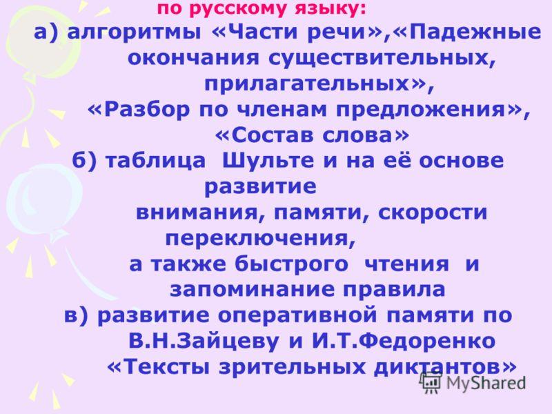 по русскому языку: а) алгоритмы «Части речи»,«Падежные окончания существительных, прилагательных», «Разбор по членам предложения», «Состав слова» б) таблица Шульте и на её основе развитие внимания, памяти, скорости переключения, а также быстрого чтен