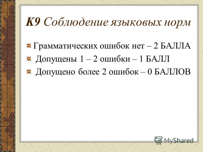 K9 Соблюдение языковых норм Грамматических ошибок нет – 2 БАЛЛА Допущены 1 – 2 ошибки – 1 БАЛЛ Допущено более 2 ошибок – 0 БАЛЛОВ