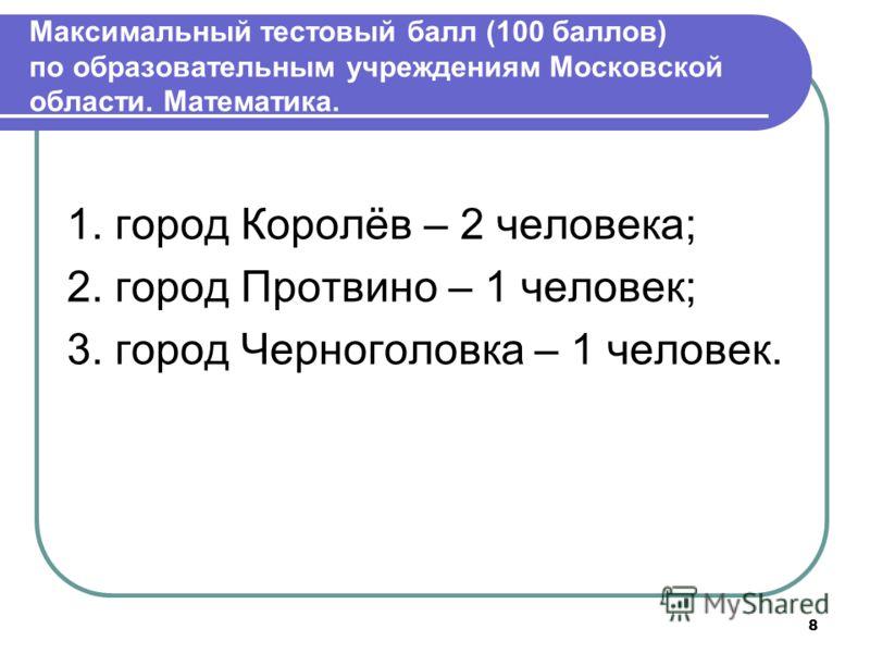 Максимальный тестовый балл (100 баллов) по образовательным учреждениям Московской области. Математика. 1. город Королёв – 2 человека; 2. город Протвино – 1 человек; 3. город Черноголовка – 1 человек. 8