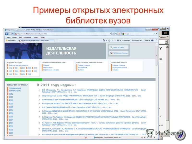 Примеры открытых электронных библиотек вузов