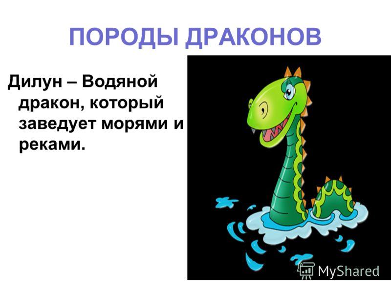 ПОРОДЫ ДРАКОНОВ Дилун – Водяной дракон, который заведует морями и реками.