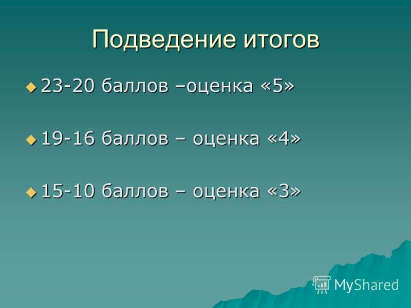 Подведение итогов 23-20 баллов –оценка «5» 23-20 баллов –оценка «5» 19-16 баллов – оценка «4» 19-16 баллов – оценка «4» 15-10 баллов – оценка «3» 15-10 баллов – оценка «3»