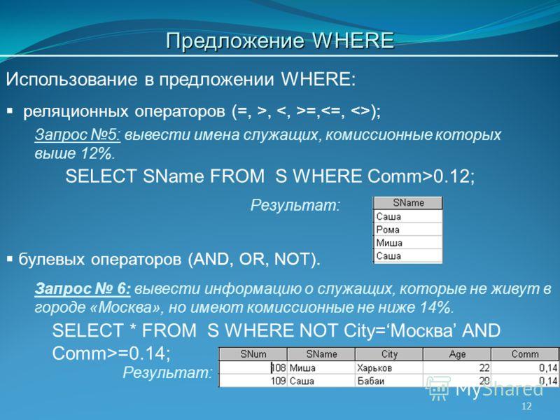 12 SELECT SName FROM S WHERE Comm>0.12; SELECT * FROM S WHERE NOT City=Москва AND Comm>=0.14; Запрос 5: вывести имена служащих, комиссионные которых выше 12%. Результат: Запрос 6: вывести информацию о служащих, которые не живут в городе «Москва», но