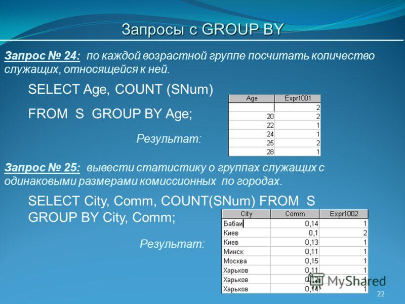 22 SELECT Age, COUNT (SNum) FROM S GROUP BY Age; Запрос 24: по каждой возрастной группе посчитать количество служащих, относящейся к ней. Результат: Запрос 25: вывести статистику о группах служащих с одинаковыми размерами комиссионных по городах. SEL