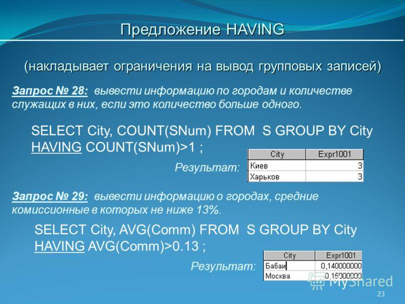 23 Запрос 28: вывести информацию по городам и количестве служащих в них, если это количество больше одного. Предложение HAVING (накладывает ограничения на вывод групповых записей) Результат: Запрос 29: вывести информацию о городах, средние комиссионн