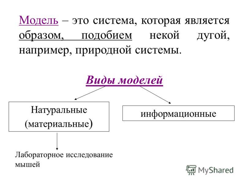 Виды моделей Натуральные (материальные ) информационные Модель – это система, которая является образом, подобием некой дугой, например, природной системы. Лабораторное исследование мышей