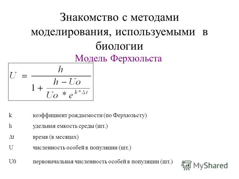 Знакомство с методами моделирования, используемыми в биологии Модель Ферхюльста kкоэффициент рождаемости (по Ферхюльсту) hудельная емкость среды (шт.) Δtвремя (в месяцах) Uчисленность особей в популяции (шт.) U0первоначальная численность особей в поп
