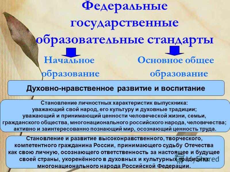 Федеральные государственные образовательные стандарты Начальное Основное общее образование образование Духовно-нравственное развитие и воспитание Становление и развитие высоконравственного, творческого, компетентного гражданина России, принимающего с