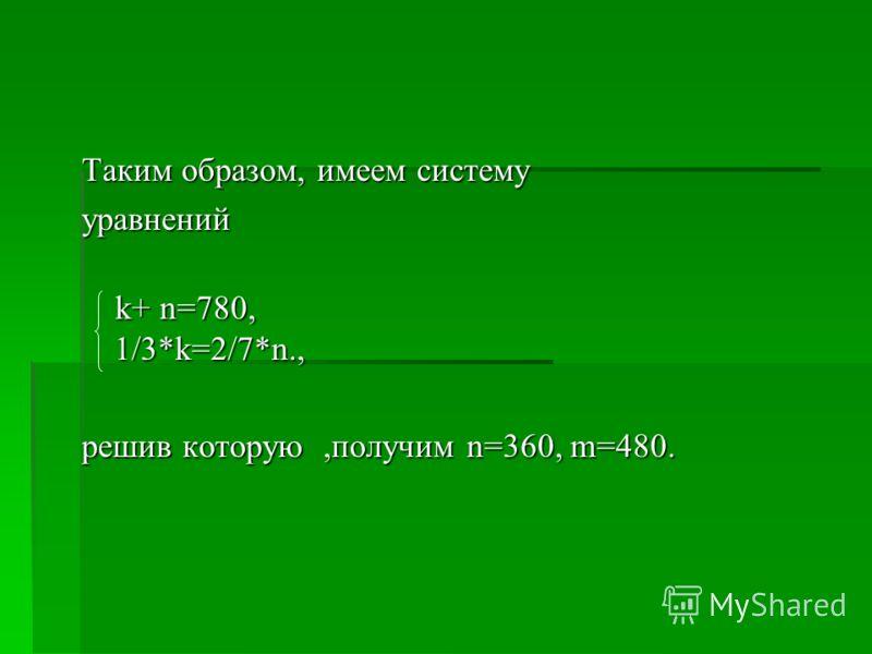 Таким образом, имеем систему уравнений k+ n=780, 1/3*k=2/7*n., k+ n=780, 1/3*k=2/7*n., решив которую,получим n=360, m=480.