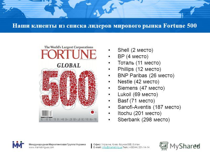 Международная Маркетинговая Группа Украина www.marketing-ua.com Офис: Украина, Киев, Фрунзе 69В, 6 этаж E-mail: info@marketing.ua Тел: (+38044) 331-14-14info@marketing.ua 34 Наши клиенты из списка лидеров мирового рынка Fortune 500 Shell (2 место) ВР
