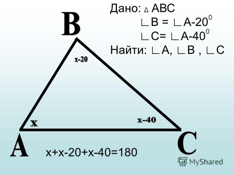 Дано: Δ АВС В = А-20 0 С= А-40 0 Найти: А, В, С х+х-20+х-40=180