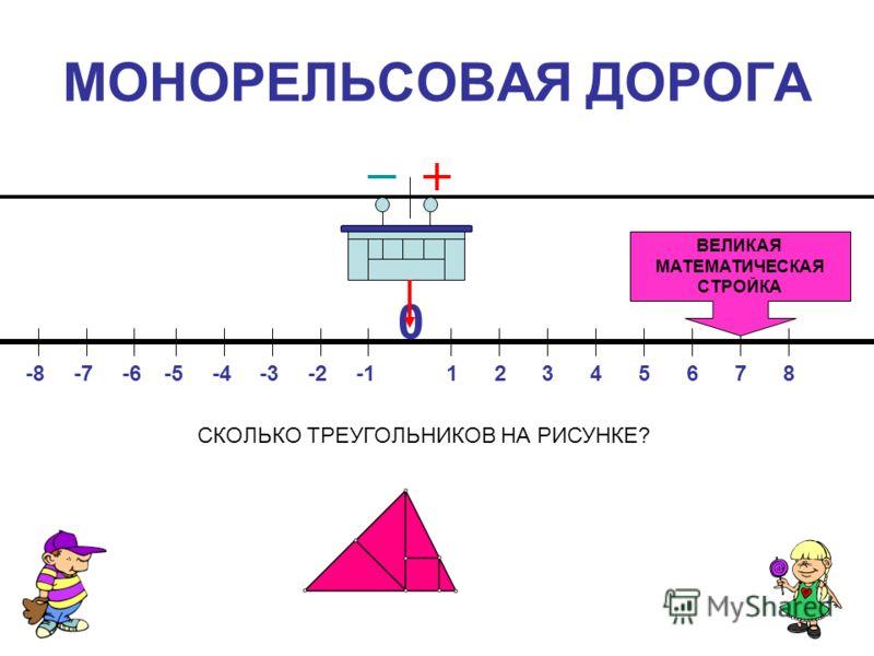 МОНОРЕЛЬСОВАЯ ДОРОГА 0 13654872-8-6-3-4-5-2-7 ВЕЛИКАЯ МАТЕМАТИЧЕСКАЯ СТРОЙКА СКОЛЬКО ТРЕУГОЛЬНИКОВ НА РИСУНКЕ?