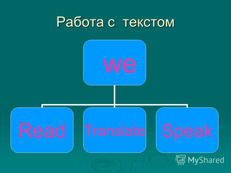 Работа с текстом we ReadTranslateSpeak
