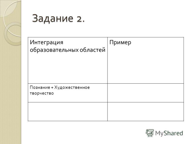 Задание 2. Интеграция образовательных областей Пример Познание + Художественное творчество