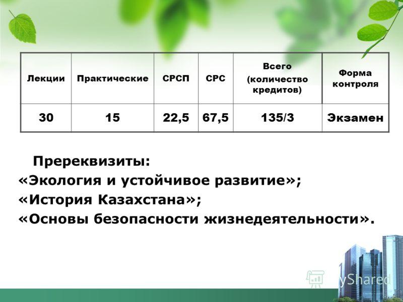 Пререквизиты: «Экология и устойчивое развитие»; «История Казахстана»; «Основы безопасности жизнедеятельности». ЛекцииПрактическиеСРСПСРС Всего (количество кредитов) Форма контроля 301522,567,5135/3Экзамен