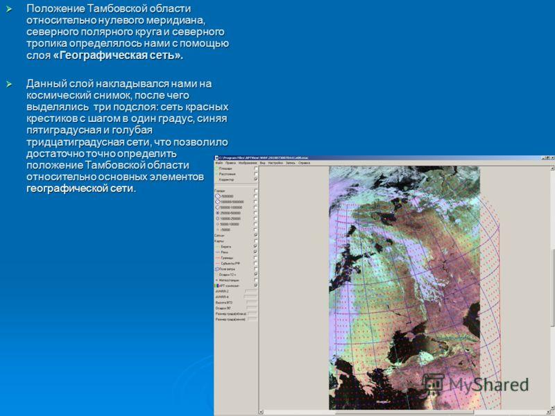 Положение Тамбовской области относительно нулевого меридиана, северного полярного круга и северного тропика определялось нами с помощью слоя «Географическая сеть». Положение Тамбовской области относительно нулевого меридиана, северного полярного круг