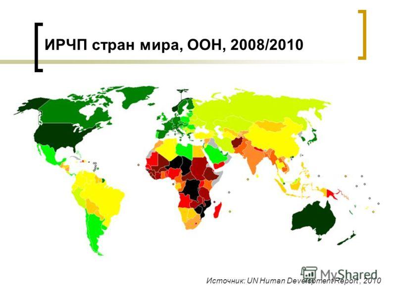 ИРЧП стран мира, ООН, 2008/2010 Источник: UN Human Development Report, 2010