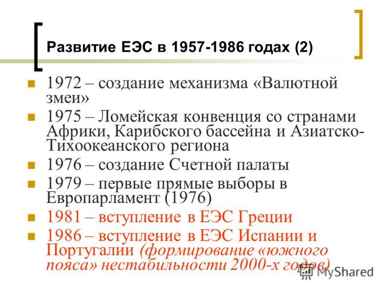 1972 – создание механизма «Валютной змеи» 1975 – Ломейская конвенция со странами Африки, Карибского бассейна и Азиатско- Тихоокеанского региона 1976 – создание Счетной палаты 1979 – первые прямые выборы в Европарламент (1976) 1981 – вступление в ЕЭС