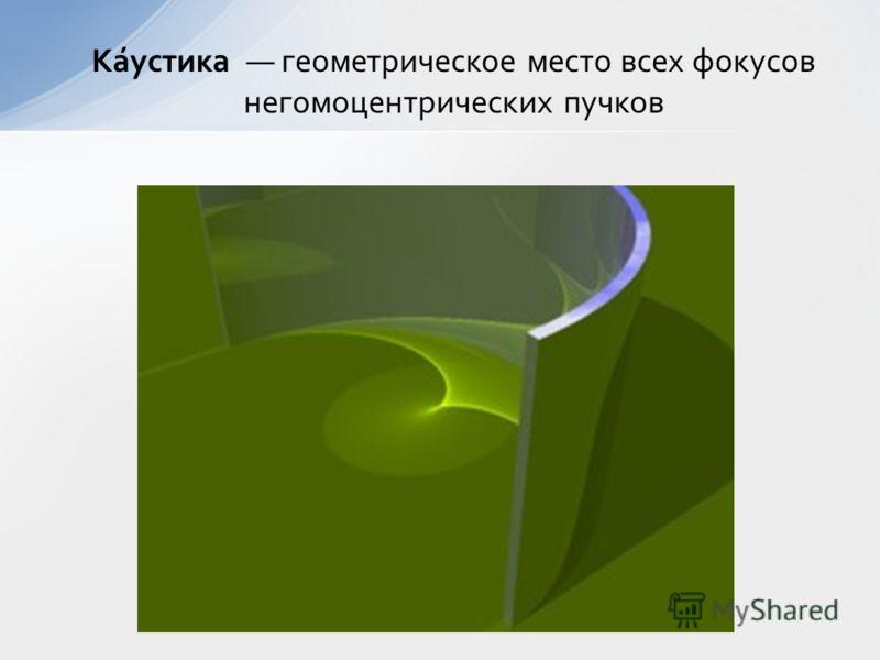 Ка́устика геометрическое место всех фокусов негомоцентрических пучков