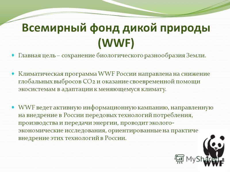 Всемирный фонд дикой природы (WWF) Главная цель – сохранение биологического разнообразия Земли. Климатическая программа WWF России направлена на снижение глобальных выбросов СО2 и оказание своевременной помощи экосистемам в адаптации к меняющемуся кл