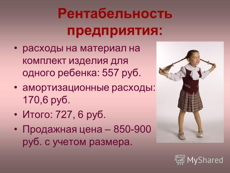 Рентабельность предприятия: расходы на материал на комплект изделия для одного ребенка: 557 руб. амортизационные расходы: 170,6 руб. Итого: 727, 6 руб. Продажная цена – 850-900 руб. с учетом размера.