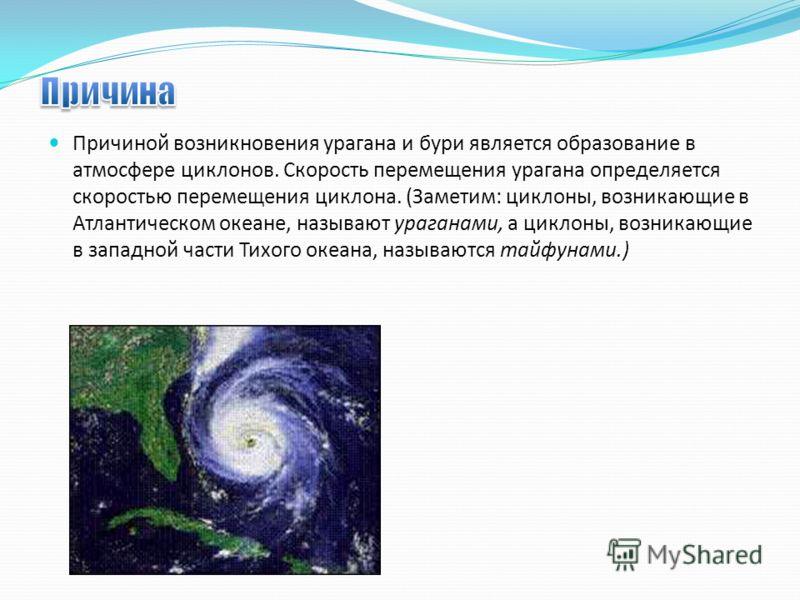 Причиной возникновения урагана и бури является образование в атмосфере циклонов. Скорость перемещения урагана определяется скоростью перемещения циклона. (Заметим: циклоны, возникающие в Атлантическом океане, называют ураганами, а циклоны, возникающи