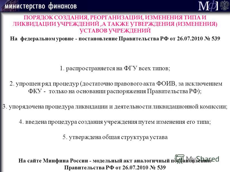 1. распространяется на ФГУ всех типов; 2. упрощен ряд процедур (достаточно правового акта ФОИВ, за исключением ФКУ - только на основании распоряжения Правительства РФ); 3. упорядочена процедура ликвидации и деятельности ликвидационной комиссии; 4. вв