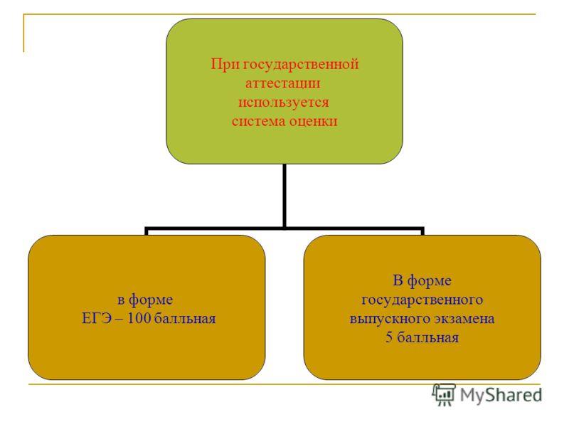 При государственной аттестации используется система оценки в форме ЕГЭ – 100 балльная В форме государственного выпускного экзамена 5 балльная