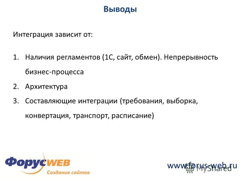 www.forus-web.ru Выводы Интеграция зависит от: 1.Наличия регламентов (1С, сайт, обмен). Непрерывность бизнес-процесса 2.Архитектура 3.Составляющие интеграции (требования, выборка, конвертация, транспорт, расписание)