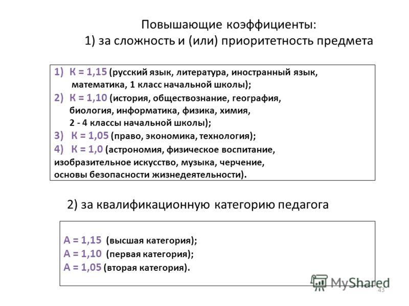 Повышающие коэффициенты: 1) за сложность и (или) приоритетность предмета 43 1)К = 1,15 (русский язык, литература, иностранный язык, математика, 1 класс начальной школы); 2)К = 1,10 (история, обществознание, география, биология, информатика, физика, х