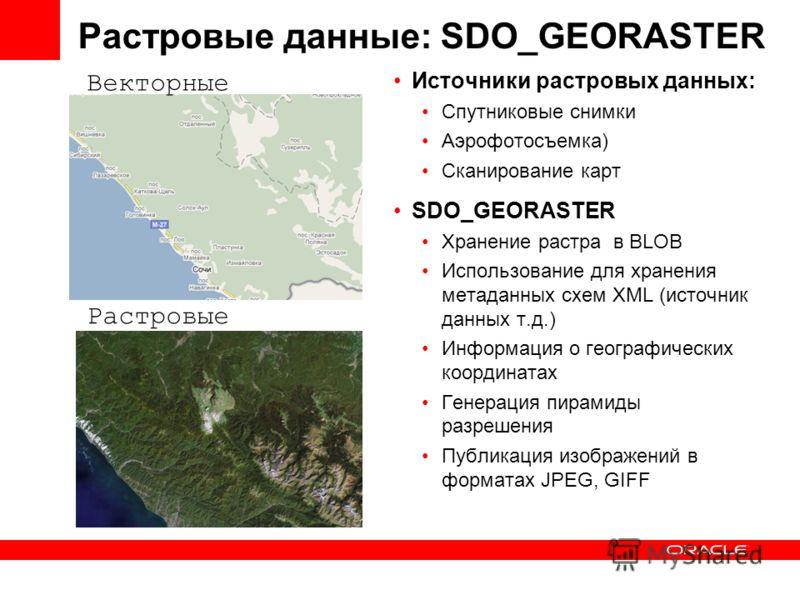Источники растровых данных: Cпутниковые снимки Аэрофотосъемка) Сканирование карт SDO_GEORASTER Хранение растра в BLOB Использование для хранения метаданных схем XML (источник данных т.д.) Информация о географических координатах Генерация пирамиды раз