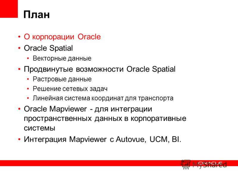 План О корпорации Oracle Oracle Spatial Векторные данные Продвинутые возможности Oracle Spatial Растровые данные Решение сетевых задач Линейная система координат для транспорта Oracle Mapviewer - для интеграции пространственных данных в корпоративные