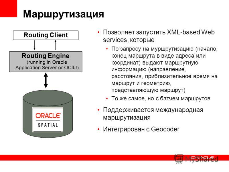 Маршрутизация Позволяет запустить XML-based Web services, которые По запросу на муршрутизацию (начало, конец маршрута в виде адреса или координат) выдают маршрутную информацию (направление, расстояния, приблизительное время на маршрут и геометрию, пр