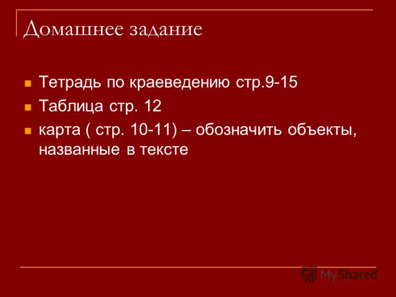 Домашнее задание Тетрадь по краеведению стр.9-15 Таблица стр. 12 карта ( стр. 10-11) – обозначить объекты, названные в тексте