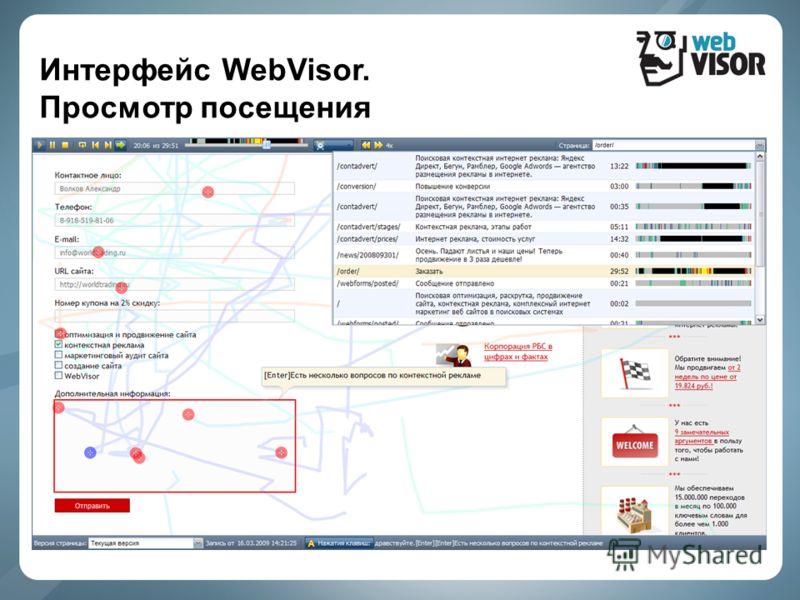 Интерфейс WebVisor. Просмотр посещения