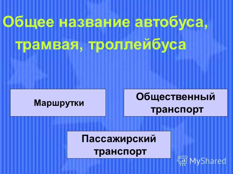 Маршрутки Общественный транспорт Пассажирский транспорт Общее название автобуса, трамвая, троллейбуса