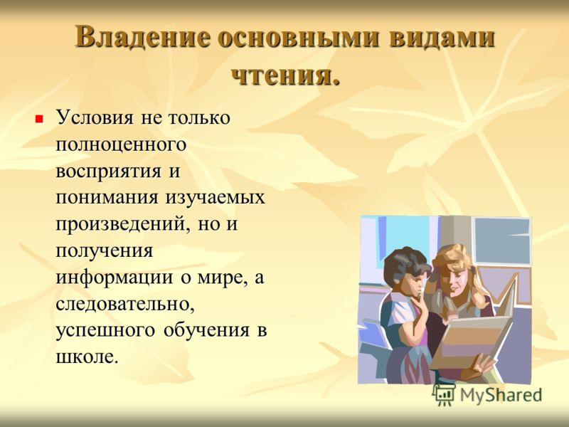 Владение основными видами чтения. Условия не только полноценного восприятия и понимания изучаемых произведений, но и получения информации о мире, а следовательно, успешного обучения в школе. Условия не только полноценного восприятия и понимания изуча