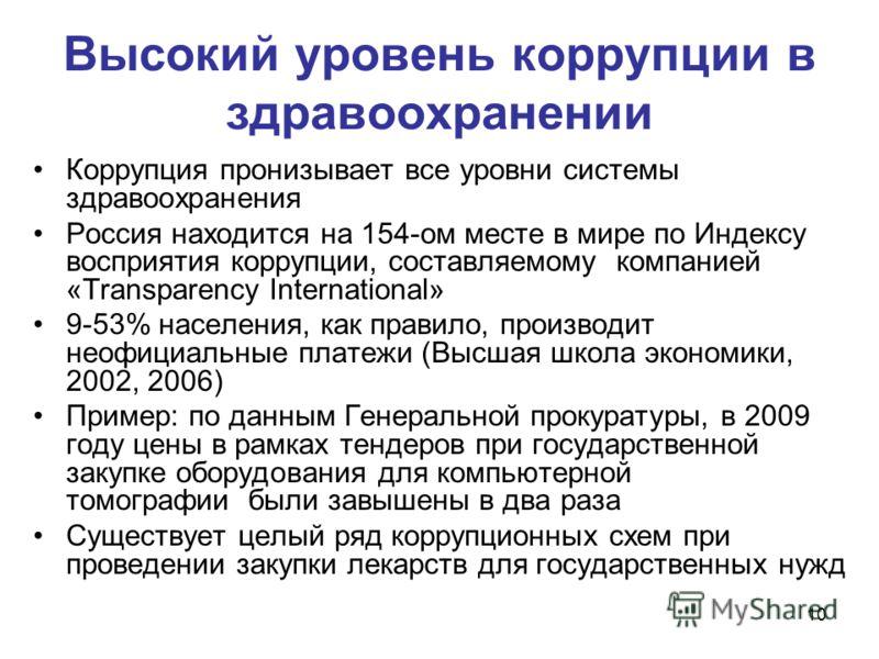 10 Высокий уровень коррупции в здравоохранении Коррупция пронизывает все уровни системы здравоохранения Россия находится на 154-ом месте в мире по Индексу восприятия коррупции, составляемому компанией «Transparency International» 9-53% населения, как