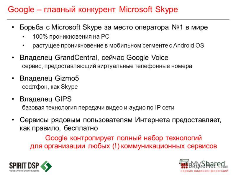 Борьба с Microsoft Skype за место оператора 1 в мире 100% проникновения на PC растущее проникновение в мобильном сегменте с Android OS Владелец GrandCentral, сейчас Google Voice сервис, предоставляющий виртуальные телефонные номера Владелец Gizmo5 со