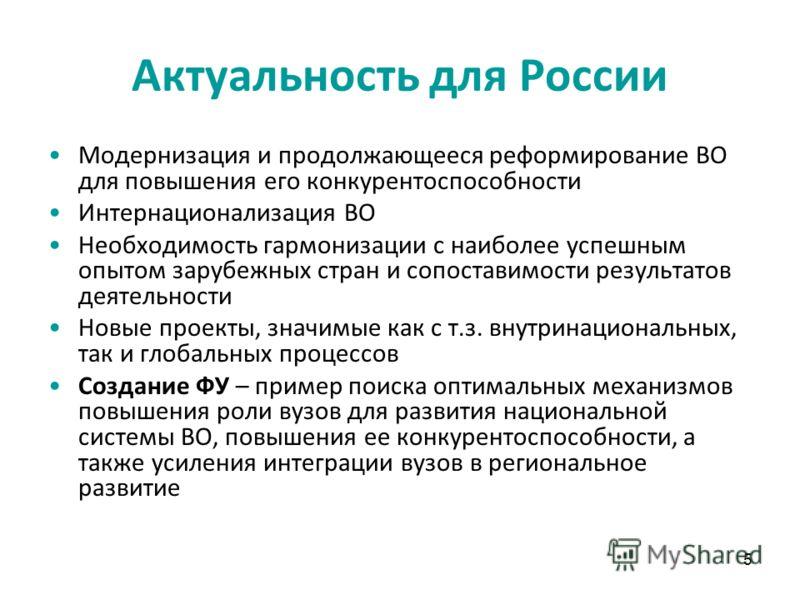 5 Актуальность для России Модернизация и продолжающееся реформирование ВО для повышения его конкурентоспособности Интернационализация ВО Необходимость гармонизации с наиболее успешным опытом зарубежных стран и сопоставимости результатов деятельности
