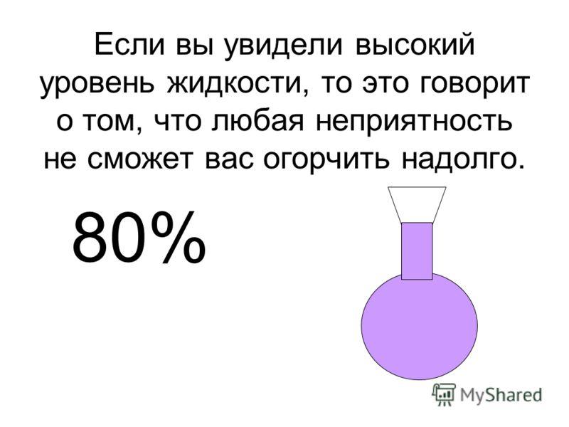 Если вы увидели высокий уровень жидкости, то это говорит о том, что любая неприятность не сможет вас огорчить надолго. 80%