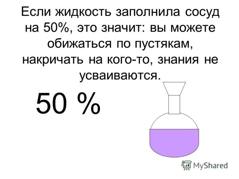 Если жидкость заполнила сосуд на 50%, это значит: вы можете обижаться по пустякам, накричать на кого-то, знания не усваиваются. 50 %
